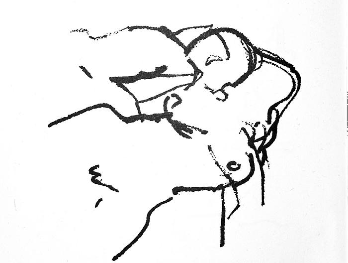 """Deux amants. Dessin d'Eric Johannesson. Pour illustrer le poème """"Song"""" écrit par Allen Ginsberg."""